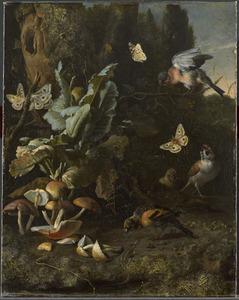 Bosstilleven met paddestoelen, vogels en vlinders