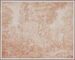 Arcadisch landschap met figuren rond een klassieke bron