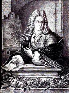 Portret van Jan van Huijsum, staand, steunend op een piëdestal, met in zijn rechterhand twee tekeningen, met zijn linkerhand wijzend naar een ezel in de achtergrond met daarop een stilleven