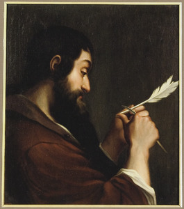 Een man, zijn pen snijdend