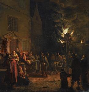 Nachtelijk tafereel in een stad: figuren bij een brandende teerton