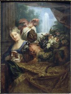 Jonge moor die een mand fruit vasthoudt en meisje dat haar hondje streelt
