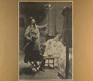 In het atelier, David en Pieter Oyens met een model
