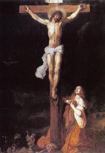 Christus aan het kruis met de boetvaardige  Maria Magdalena