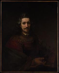 Portret van een man met een vergrootglas