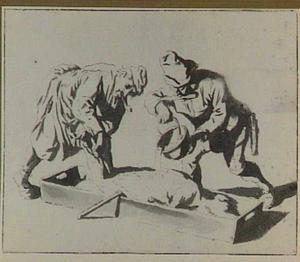 Twee boeren met geslacht een varken