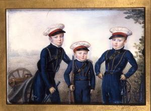 Portret van de latere koning Willem III (1817-1890) met zijn broers Alexander (1818-1848) en Hendrik (1820-1879)