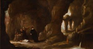 Grotinterieur met de verzoeking van de H. Antonius