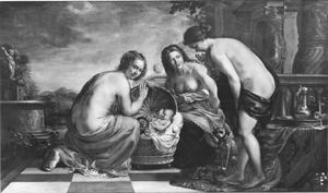 Erichthonius, verborgen in een mand wordt overhandigd door Minerva to Aglauros and her sisters (Cecrops' daughters) to be taken care of