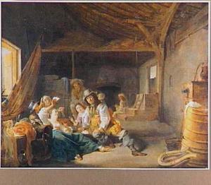 Kaartspelende soldaten en vrouwen in een schuur