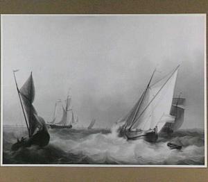 Schepen op een bewegelijke zee