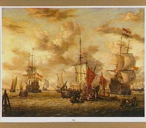 Hollandse zeilschepen voor de kust