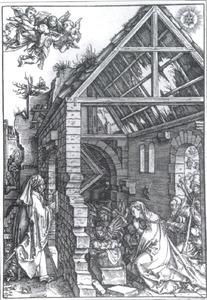 De aanbidding van het kindje jezus door Maria en Jozef met engelen fladderend in de lucht