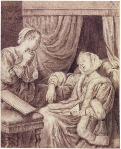 Twee vrouwen in een slaapkamer, warvan er een flauw valt na het lezen van een brief