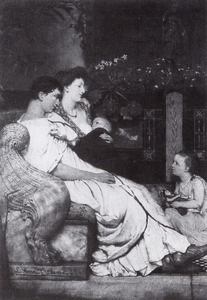 Portret van Lourens Alma Tadema (1836-1912), Marie Pauline Gressin de Boisgirard (1836-1869) en hun kinderen