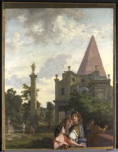 Italiaans landschap met drie vrouwen op de voorgrond