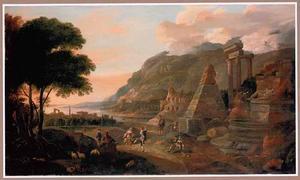 Mediterraan landschap met dansende figuren bij antieke ruïnes