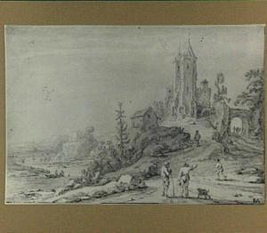 Heuvelachtig rivierlandschap met vervallen torens