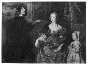 Portret van Algernon Percy, 10th Earl of Northumberland (1602-1668) met zijn vrouw Anne Cecil (?-1637) en hun dochter Catherine Percy (1630-1638)