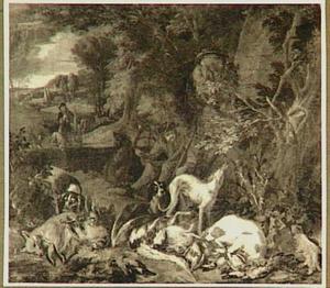 Stilleven van gevogelte en vruchten in een landschap