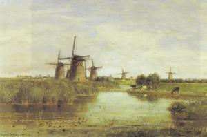 Polderlandschap met molens