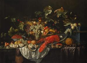 Stilleven van vruchten, kreeft en oesters op een tafel