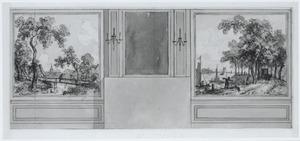 Zijwand met twee behangselvlakken ter weerszijden van een spiegel