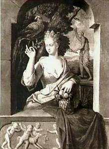 Jonge vrouw met fruitmandje en papegaai in een venster