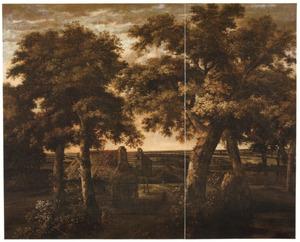 Landschap met een huis tussen bomen