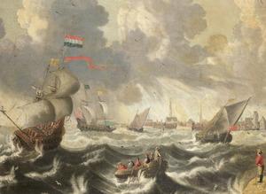 Schepen op woelig water voor een havenstad (Hamburg?)