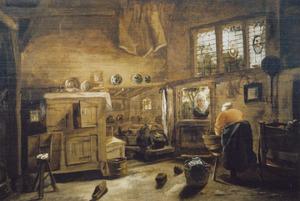Keukeninterieur met een vrouw aan de wastobbe