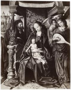 Heilige Familie met musicerende engelen
