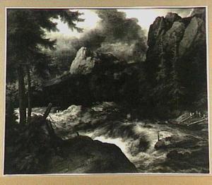 Scandinavisch landschap met een stroomversnelling
