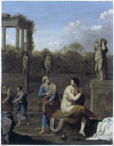 Batseba tijdens haar toilet door David bespied (2 Samuel 11:24