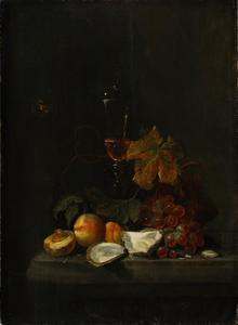 Stilleven met oesters en perzikken, druiven en een glazen bokaal
