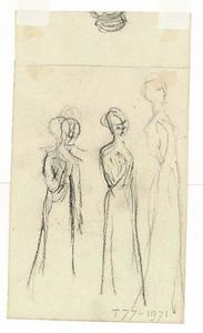 Three standing female figures