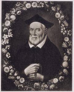 Bloemenkrans rondom een portret van Filippo Neri (1515-1595)