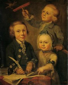 Familieportret van Adrianus François Goudriaan (1768-1829), Alida Petronella Goudriaan (1772-1846) en François Goudriaan (1770-1782)