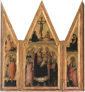 H. Christoforus en Gabriël van de annunciatie (binnenzijde linkerluik), Maria met kind tussen heiligen en engelen en de kruisiging (middenpaneel), H. Jacobus de Meerdere en Maria van de annunciatie (binnenzijde rechterluik)