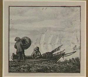 Twee vissers met een fuik en vissersbootje aan de rand van het water