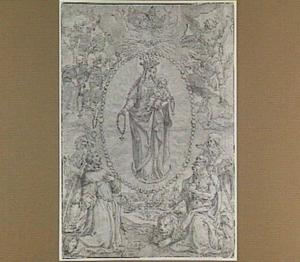 Rozenkrans-Madonna; links H. Onufrius (?) en H. Franciscus; rechts H. Antonius en H. Hieronymus
