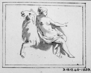 Vrouw op de rug van een geit (?)
