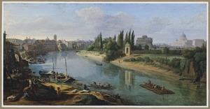 Gezicht op Rome met de Tiber nabij de Porto della Legna