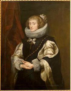 Portret van een vrouw met een grote gesteven plooikraag