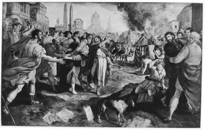 Inwoners van Efeze verbranden uit berouw hun afgodische boeken tijdens Paulus verblijf in de stad  (Handelingen 19:19)