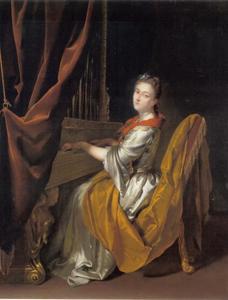 Portret van Barbara Janssens als de H. Cecilia spelend op het orgel
