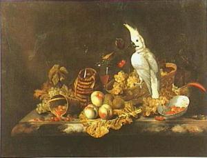 Vruchtenstilleven met kaketoe