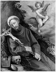 De H. Franciscus door een musicerende engel getroost