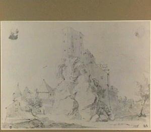 Rotslandschap met versterkte gebouwen op een rots