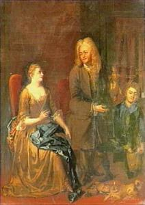 Een heer toont de jachtbuit aan een jonge vrouw